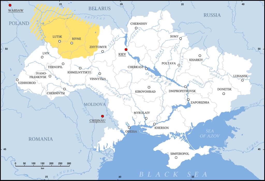 Volyň na mapě současné Ukrajiny
