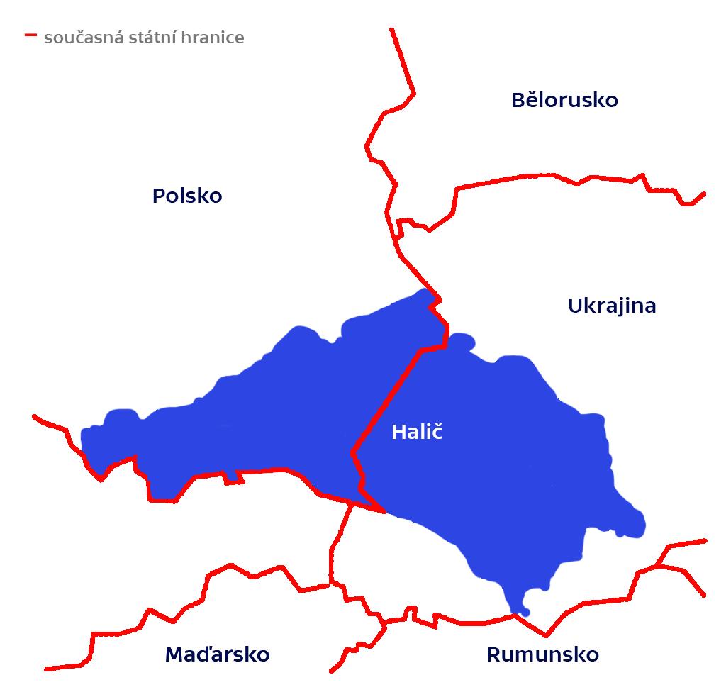 Halič (rozdělená na západní a východní část) na současné mapě