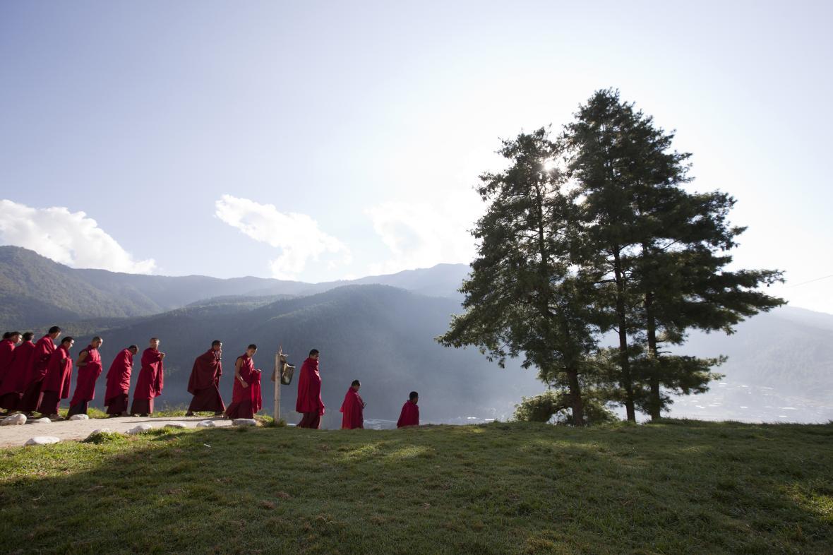 Mniši v Bhútánu