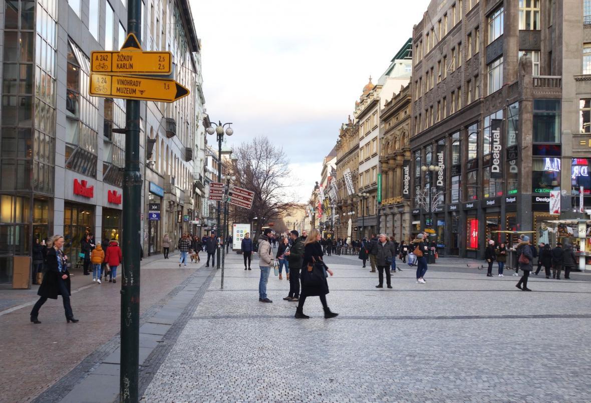 Zákaz se bude týkat i cyklotrasy vedoucí ulicemi 28. října, Můstek a Na Příkopě