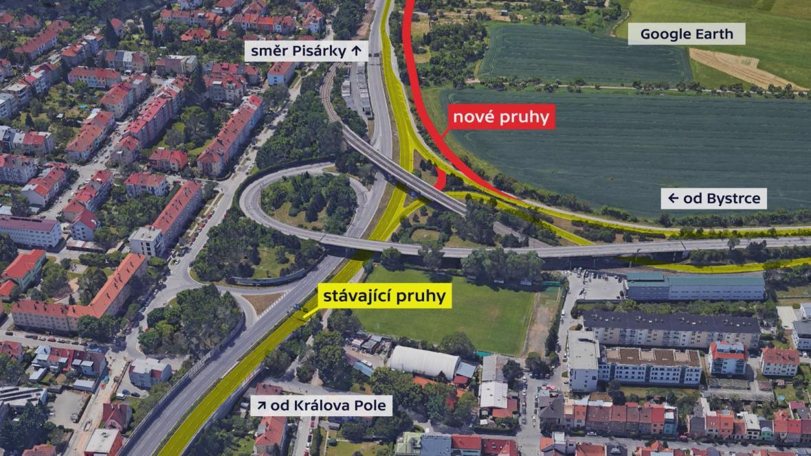 Na Žabovřeské vzniknou pro řidiče dva pruhy