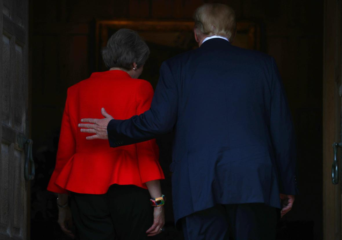 Donald Trump s Theresou Mayovou v Chequers