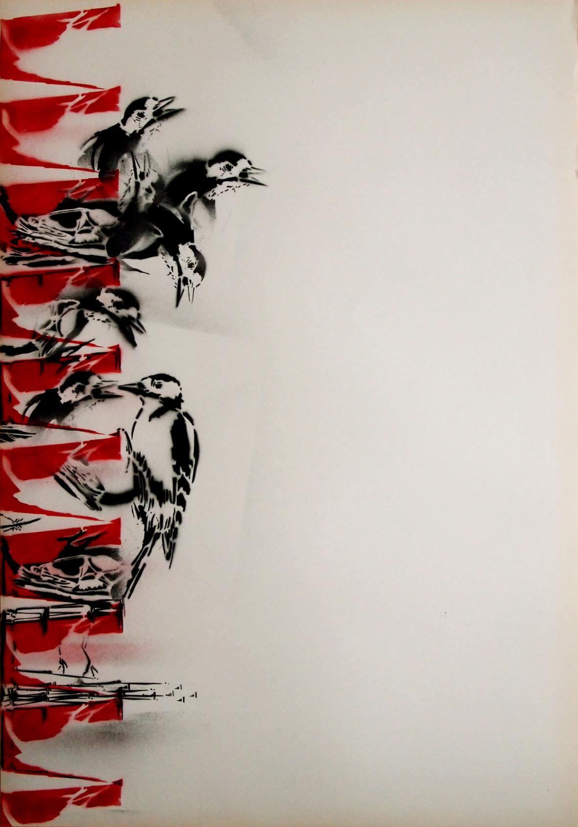 Markéta Hlinovská / z cyklu Hnízda a pasti, Krmení, 2012, sprej na papíře