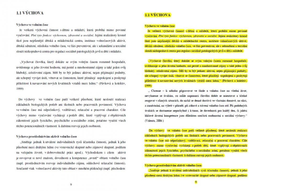 Strana 9 práce Marie Doležalové (vlevo) a Petra Krčála (vpravo)
