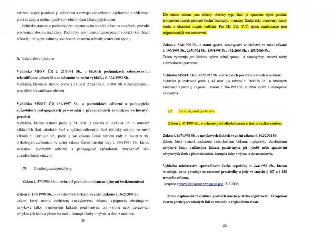 Strana 26 práce Marie Doležalové (vlevo) a Petra Krčála (vpravo)
