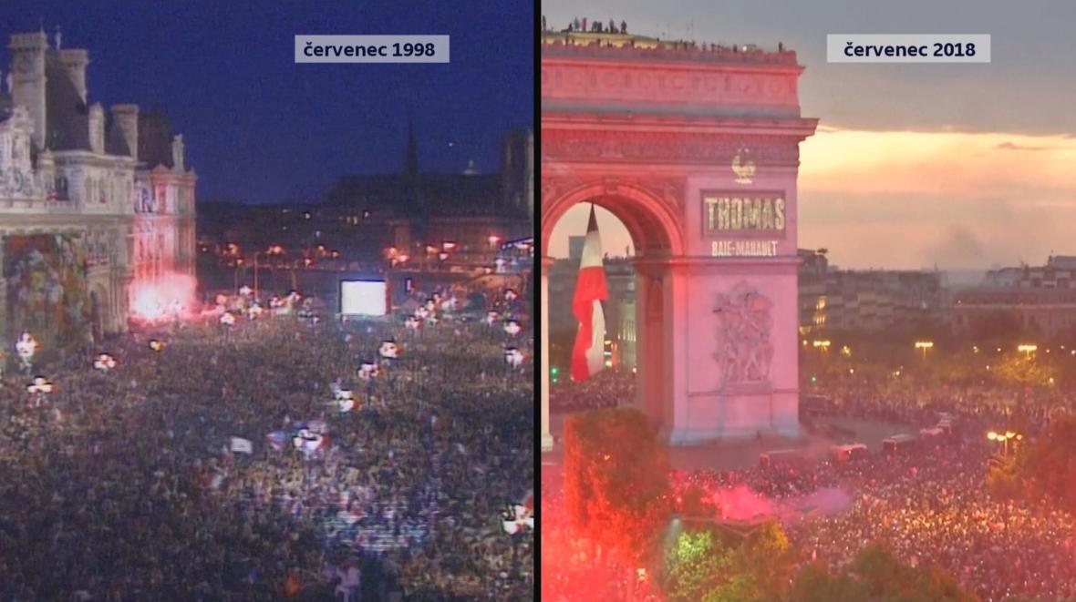 Fotbalové oslavy ve Francii v roce 1998 a nyní