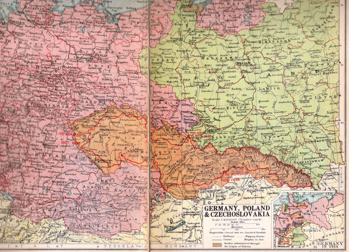 Mapa ČSR z britského atlasu z r. 1938