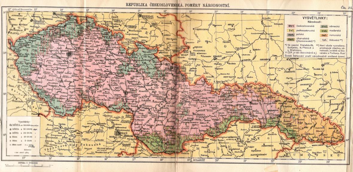 Národnostní situace v ČSR v atlasu z r. 1936