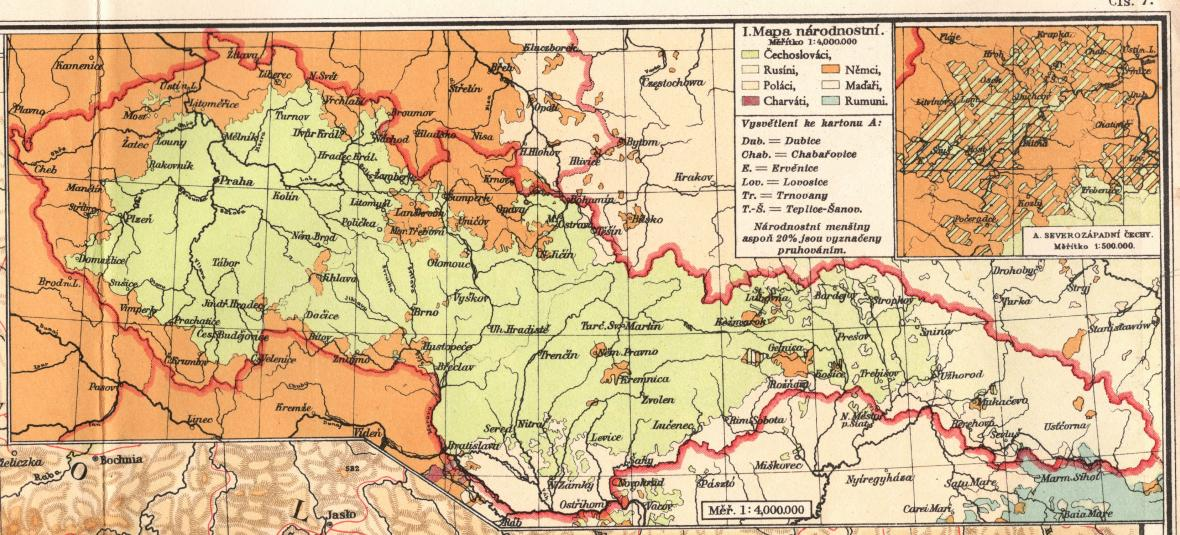 Národnostní situace v ČSR v atlase z r. 1930