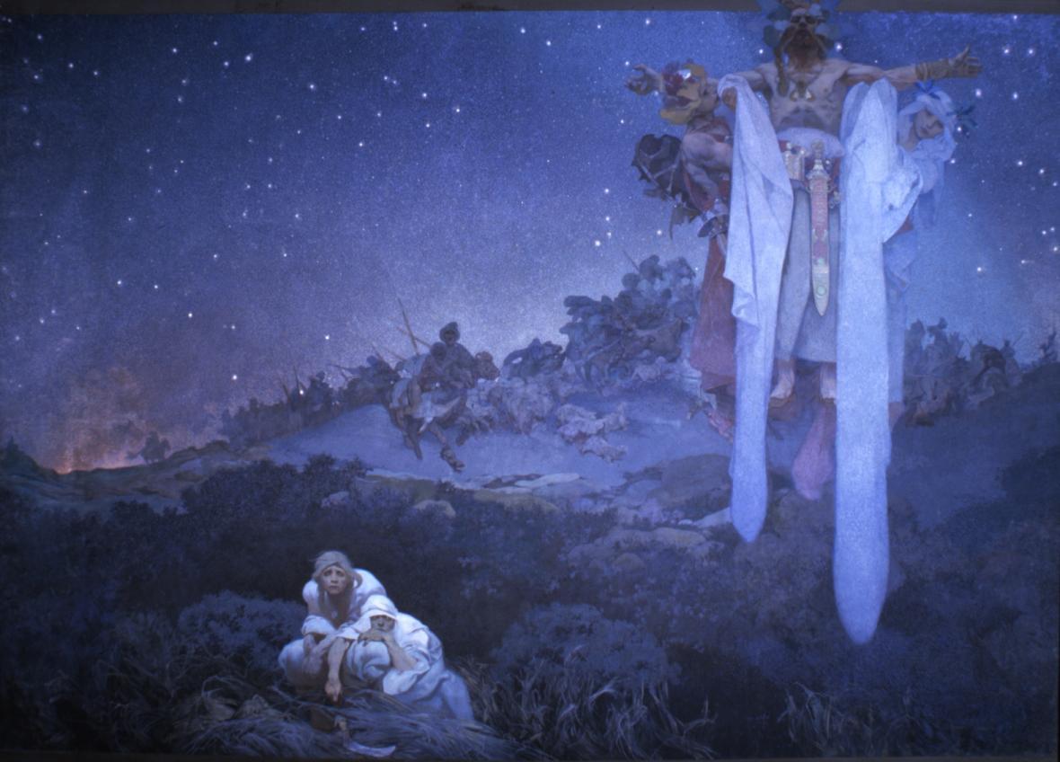 Slované v pravlasti, 1912, vaječná tempera, olej, plátno, 610 x 810 cm