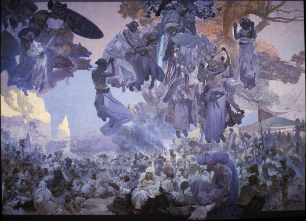 Slavnost Svantovitova na Rujaně, 1912, vaječná tempera, olej, plátno, 610 x 810 cm