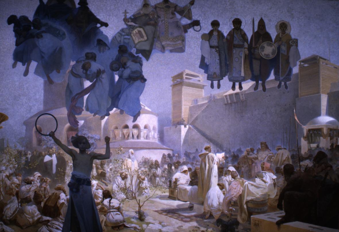 Zavedení slovanské liturgie, 1912, vaječná tempera, olej, plátno, 610 x 810 cm