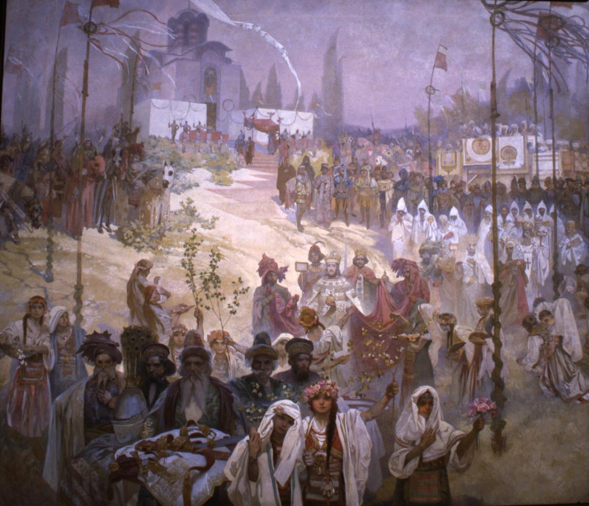 Korunovace cara srbského Štěpána Dušana na cara východořímského (1346), 1923, vaječná tempera, olej, plátno, 405 x 480 cm