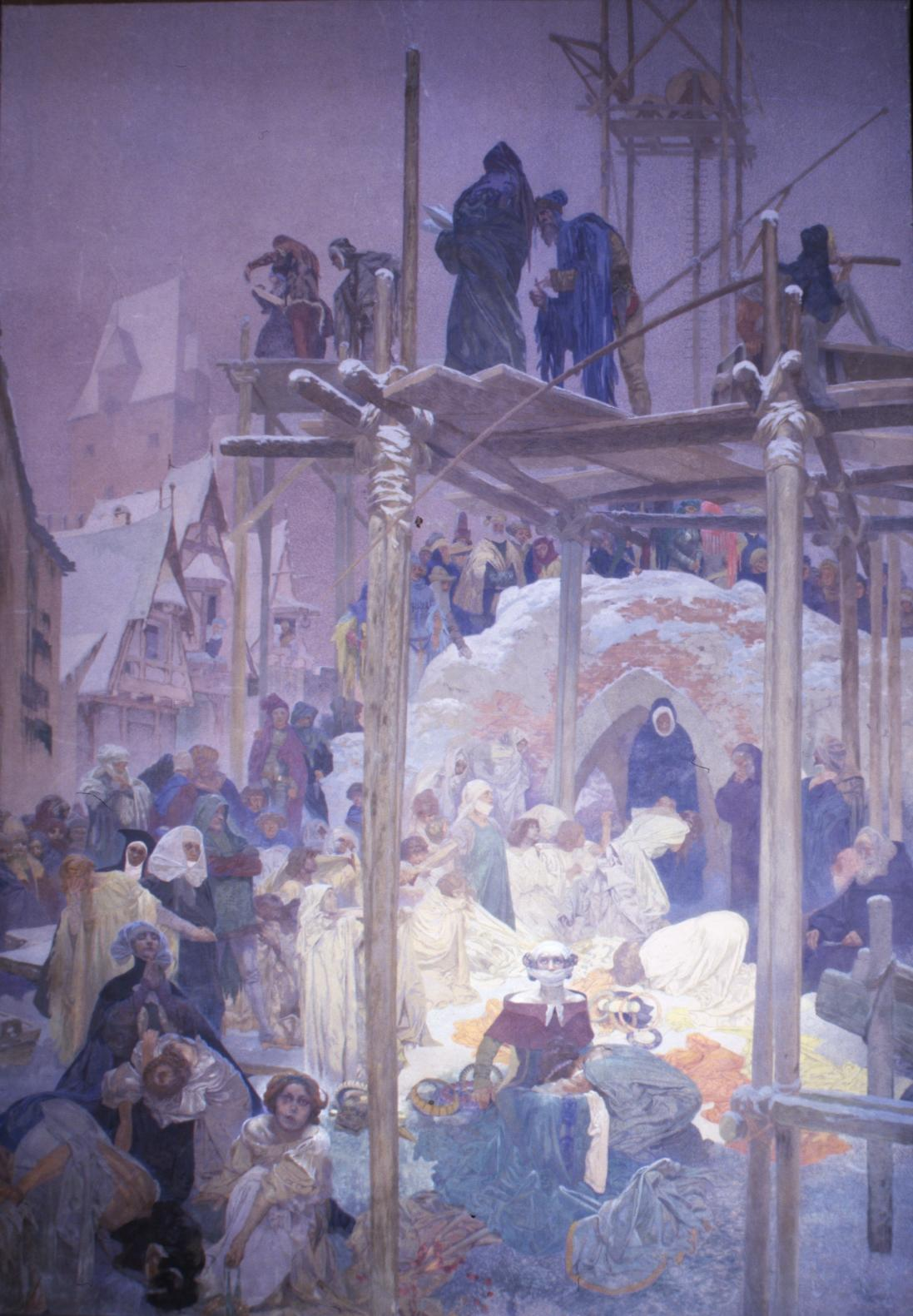 Milíč z Kroměříže (1372), levé křídlo triptychu Kouzlo slova – Klášter z nevěstince, 1916, vaječná tempera, olej, plátno, 620 x 405 cm