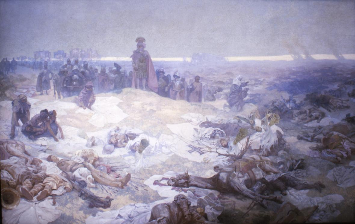 Po bitvě u Grunwaldu (1410), 1924, vaječná tempera, olej, plátno, 405 x 610 cm