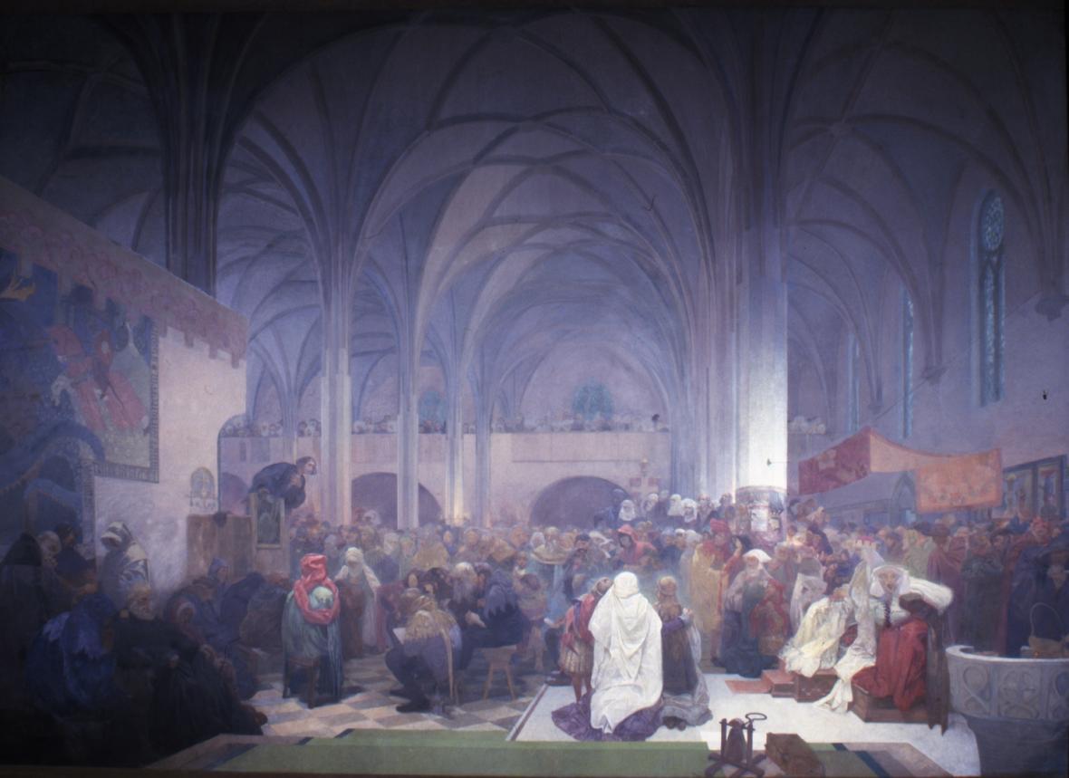 Husovo kázání v kapli Betlémské (1412), střed triptychu Kouzlo slova – Pravda vítězí, 1916, vaječná tempera, olej, plátno, 610 x 810 cm