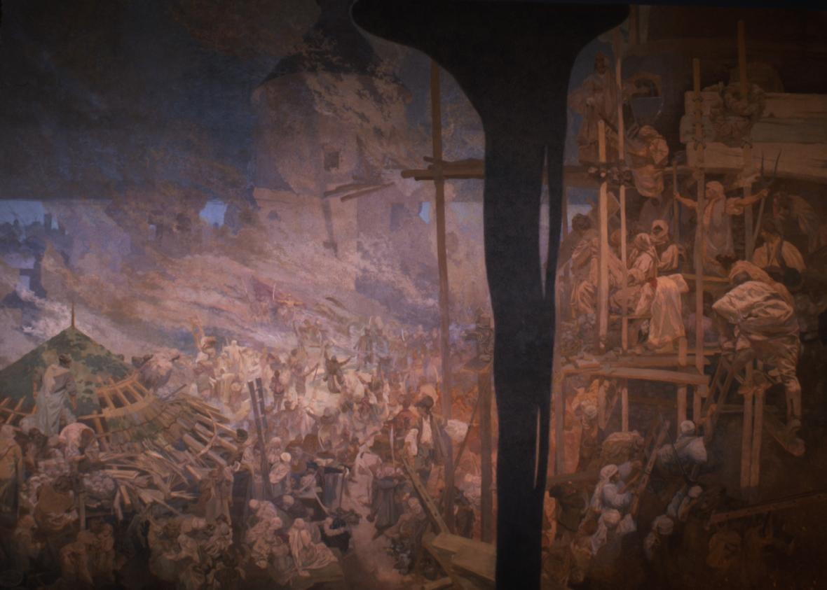 Hájení Sigetu Mikuláčem Zrinským (1566), 1914, vaječná tempera, olej, plátno, 610 x 810 cm