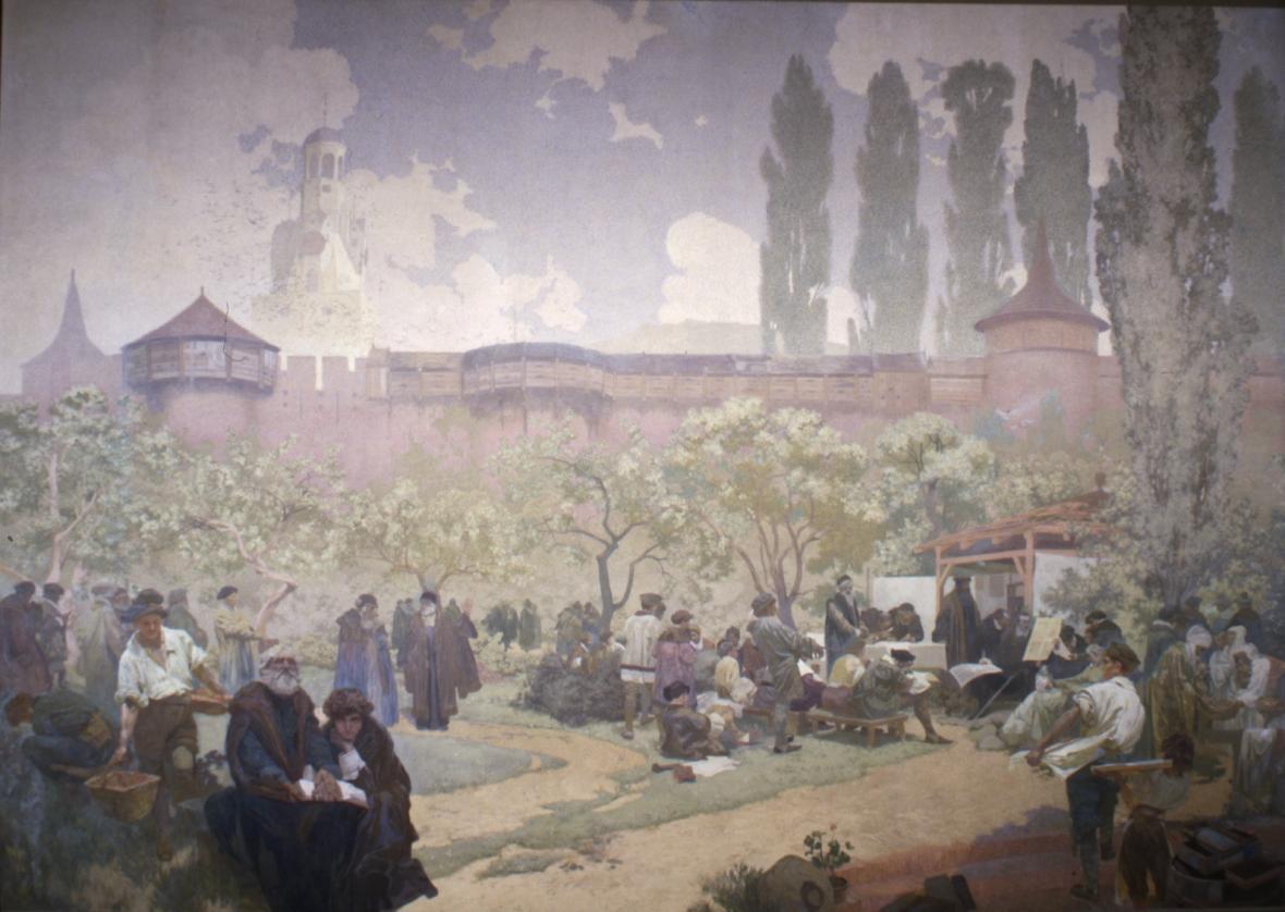 Bratrská škola v Ivančicích (1578), 1914, vaječná tempera, olej, plátno, 610 x 810 cm