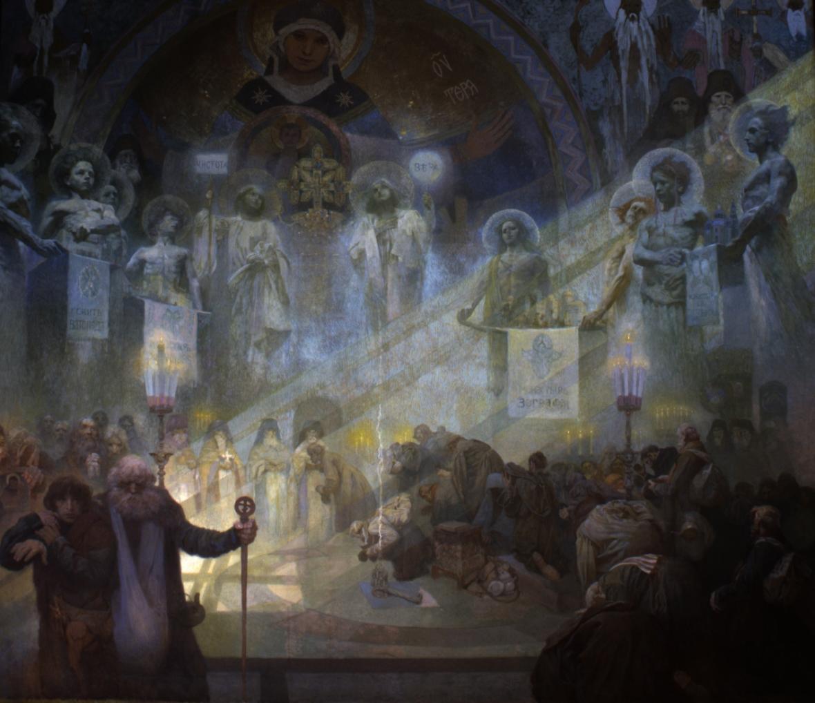 Mont Athos, 1926, vaječná tempera, olej, plátno, 405 x 480 cm