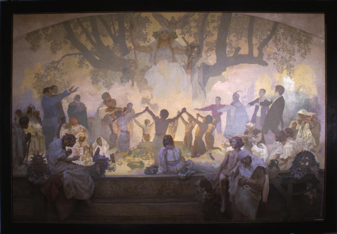 "Přísaha ""omladiny"" pod slovanskou lípou, 1926 (nedokončeno), vaječná tempera, olej, plátno, 405 x 480 cm"