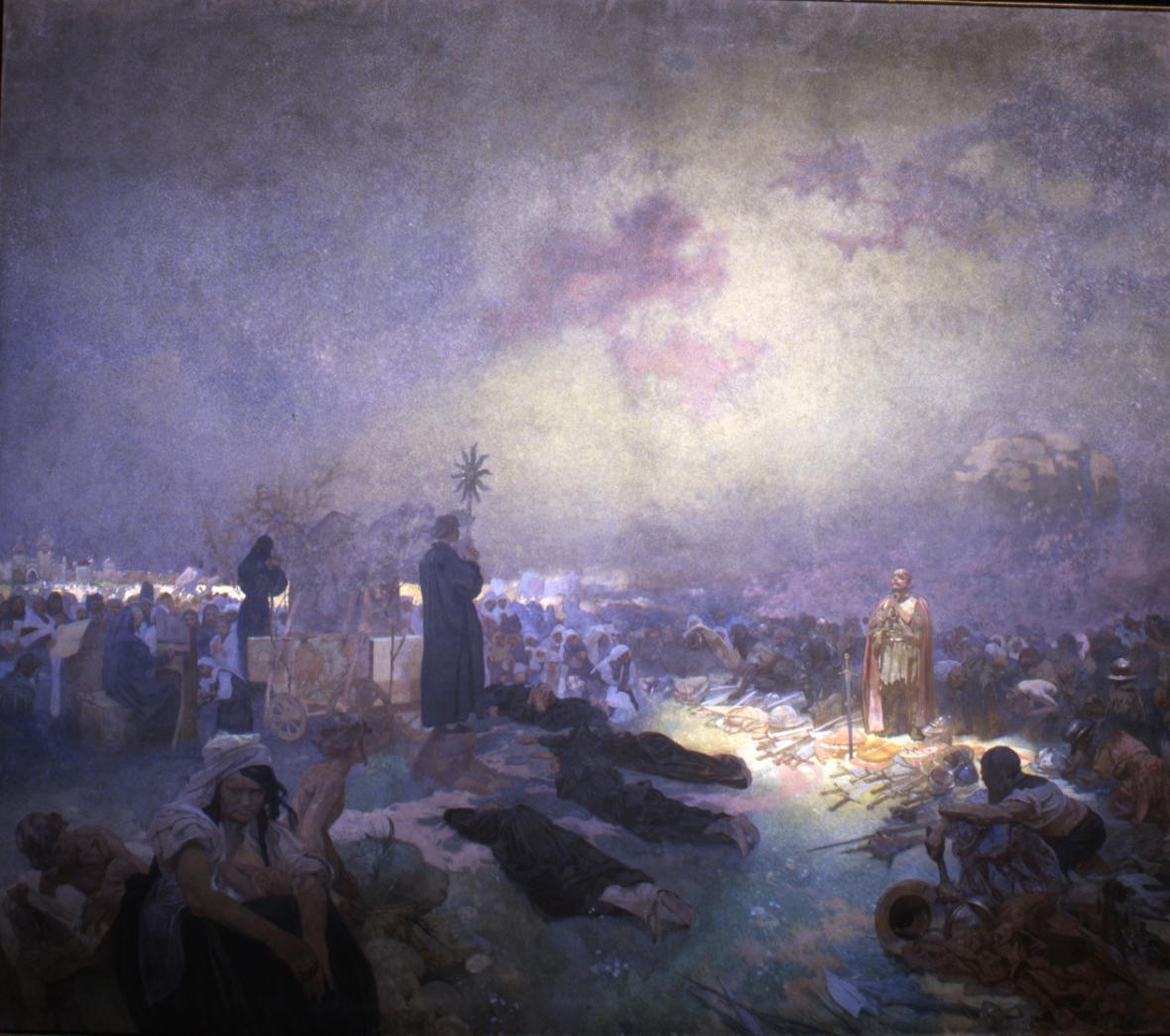 Po bitvě na Vítkově (1420), 1923, vaječná tempera, olej, plátno, 405 x 480 cm