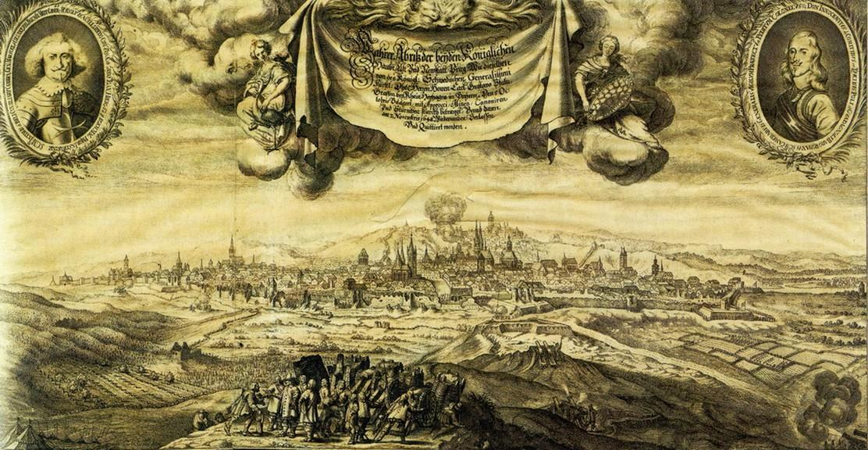Rytina od Matthäuse Meriana staršího zobrazující obléhání Prahy Švédy