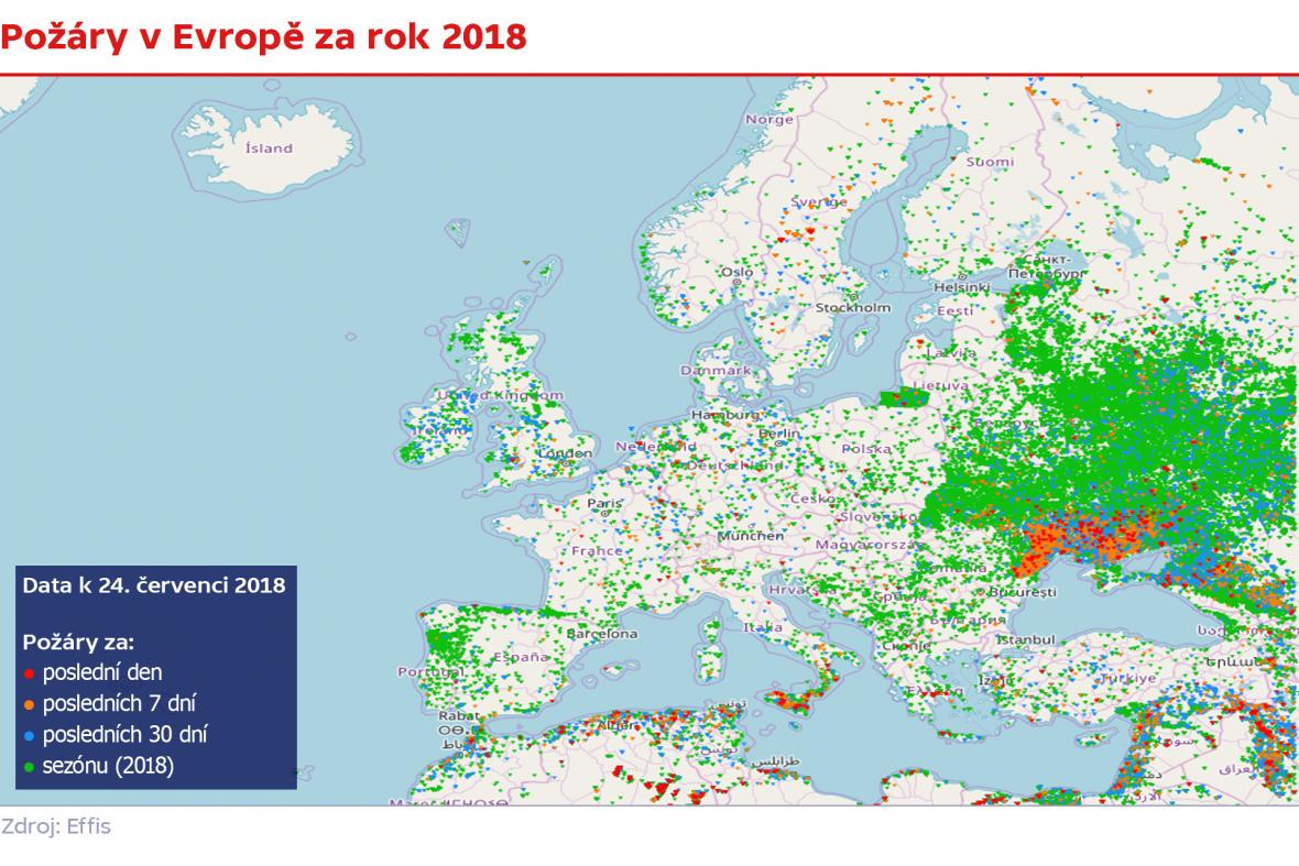Požáry v Evropě za rok  2018