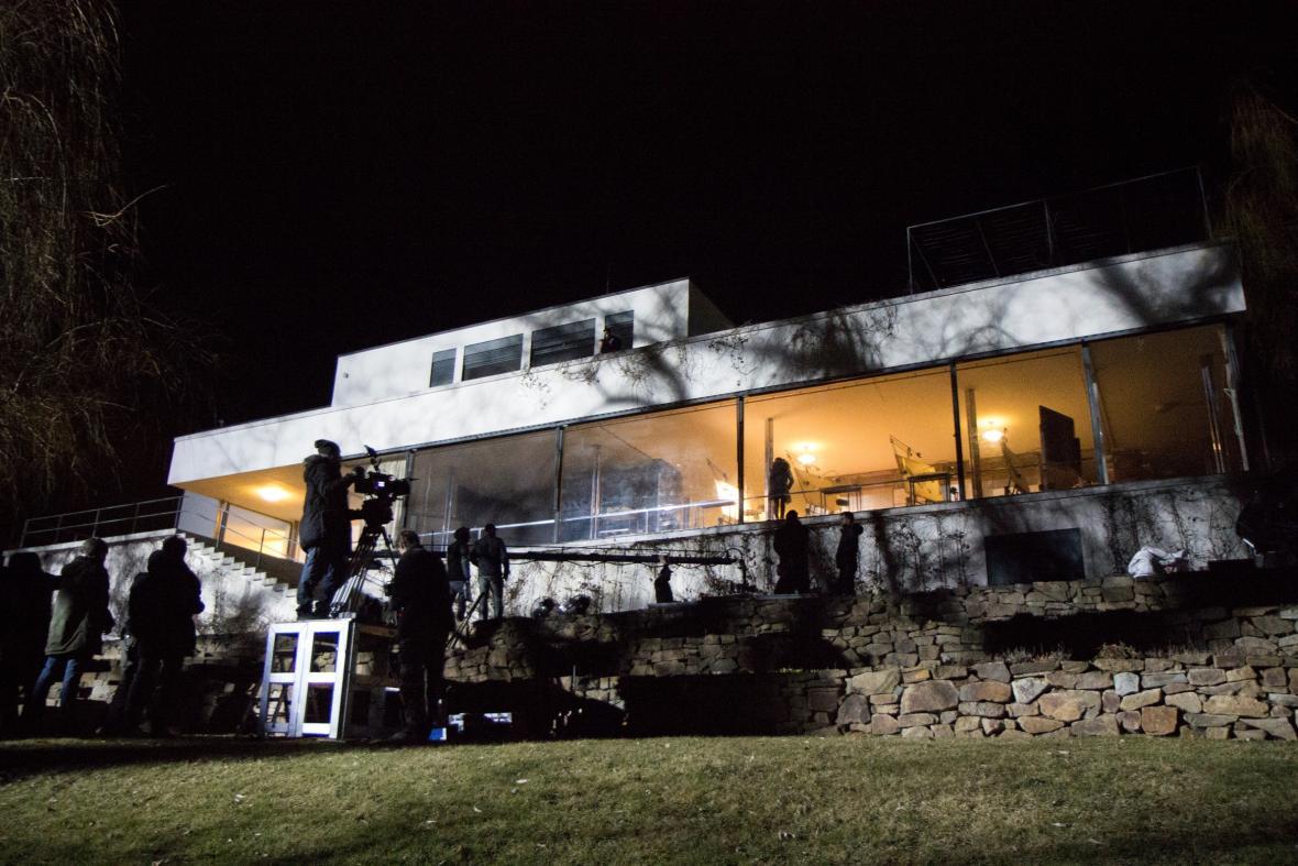 Z natáčení filmu Skleněný pokoj