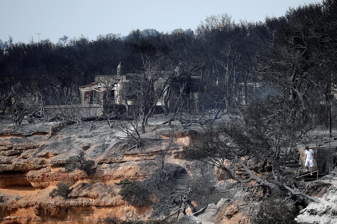 Následky požárů ve vesnici Mati