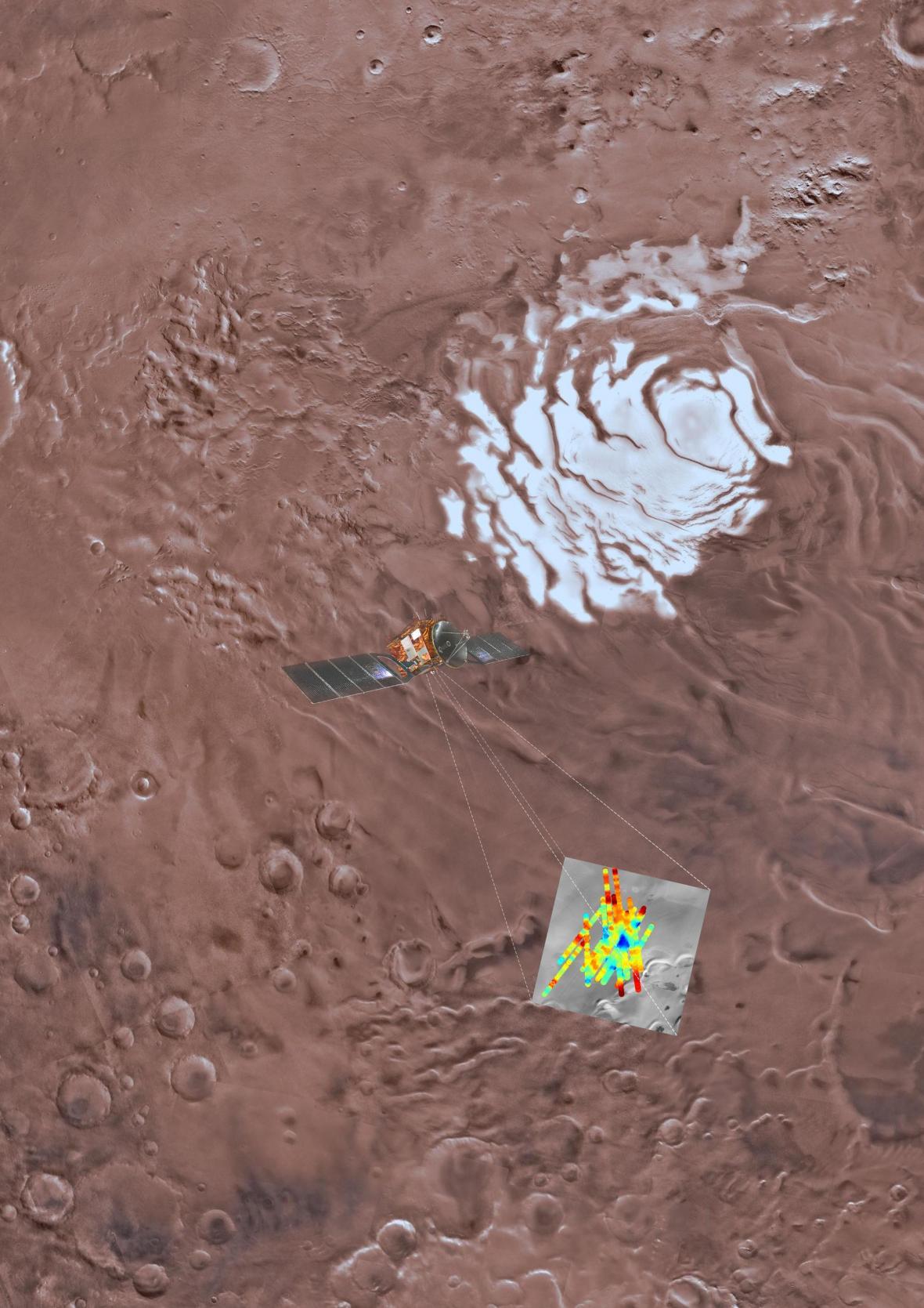 Umělecká představa o tom, jak bylo odhaleno podzemní jezero na Marsu