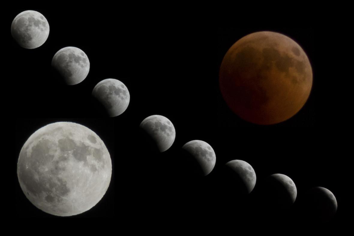 Zatmění Měsíce - časosběrný snímek