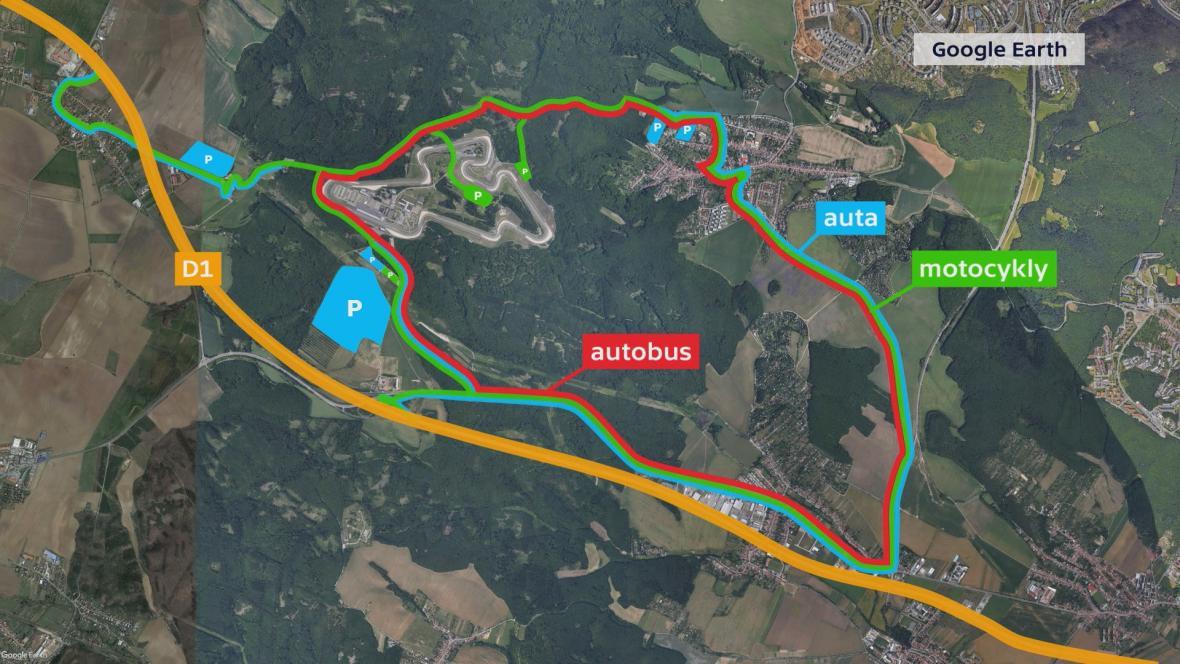 Mapa okolí automotodromu