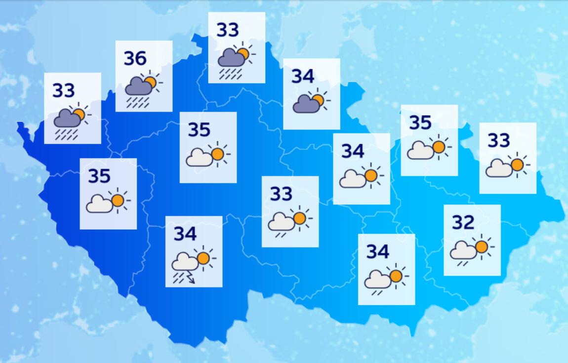 Teploty ve čtvrtek