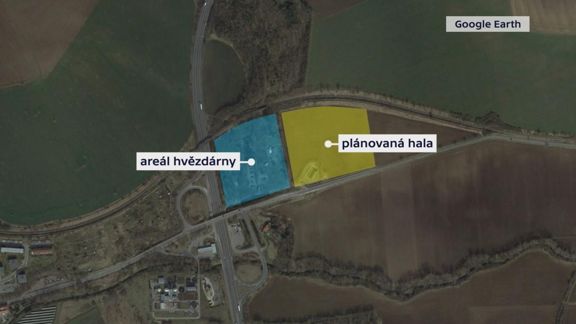 Mapa hvězdárny a plánované výrobní haly