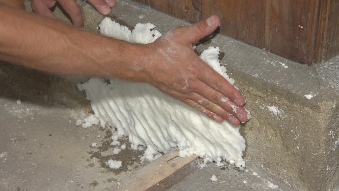 Směs buničiny a destilované vody nanesou restaurátoři na kameny a tím je zbaví soli