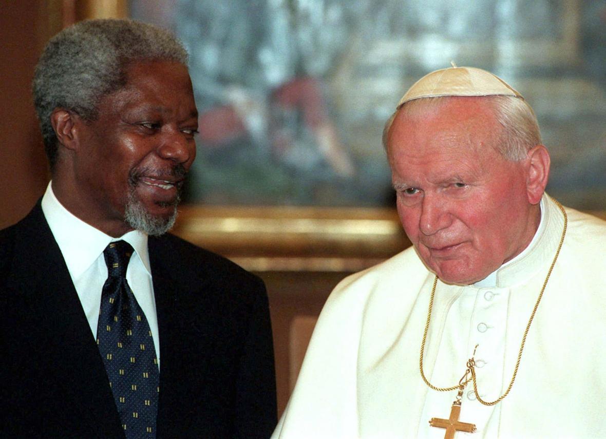 Kofi Annan s papežem Janem Pavlem II. (duben 1997)