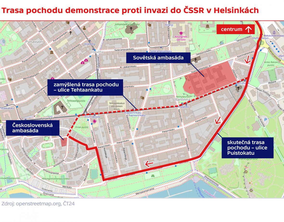 Trasa pochodu demonstrace proti invazi do ČSSR v Helsinkách