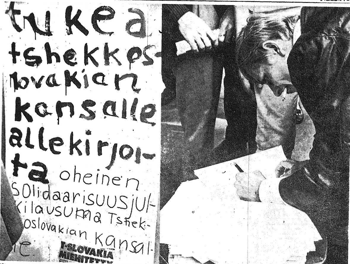 Kopie výstřižku z novin Helsingin Sanomat 22. srpna 1968