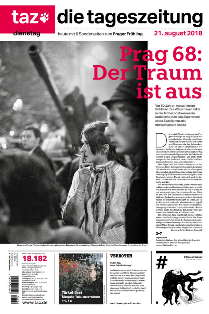 Titulní strana německého listu Die Tageszeitung
