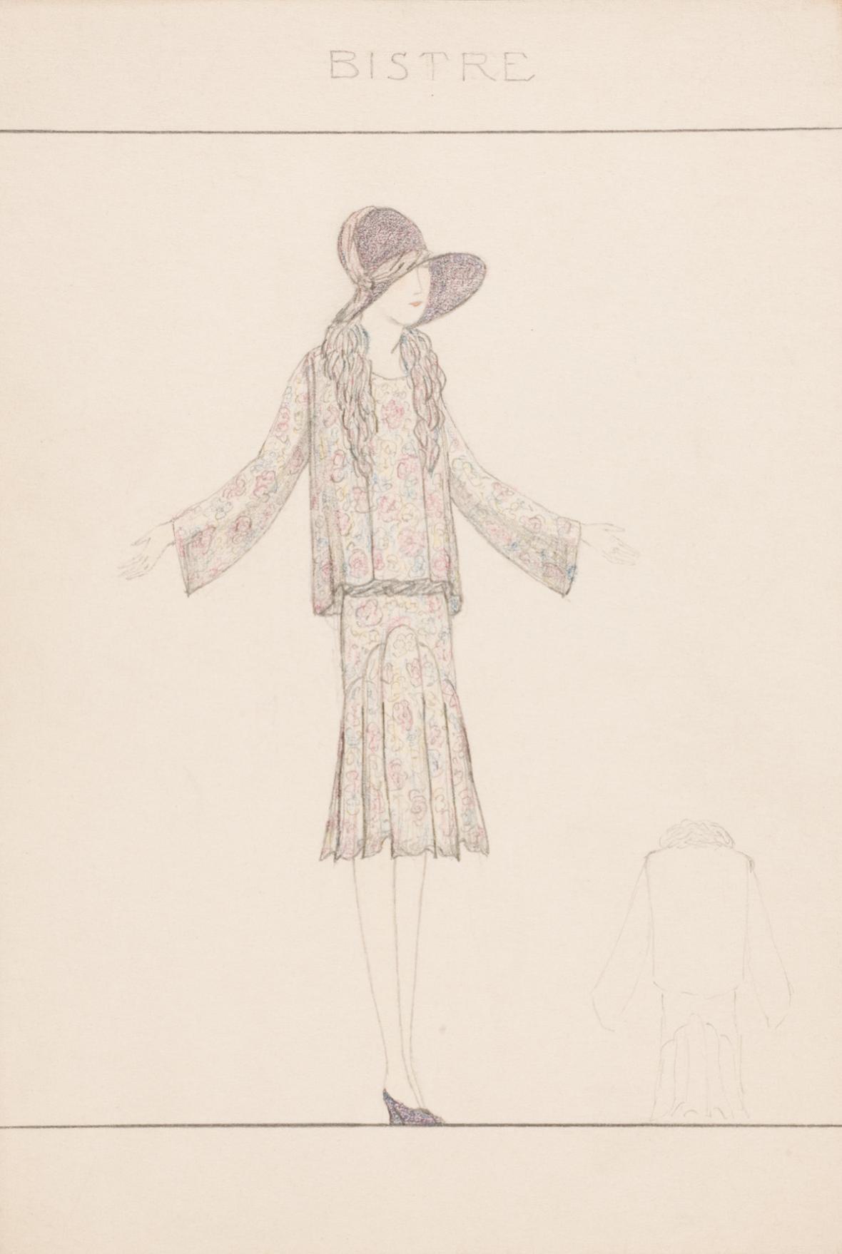 Hedvika Vlkova: Návrhové kresby ze salonu Hanny Podolské, 1925–1926, dokumentace UPM