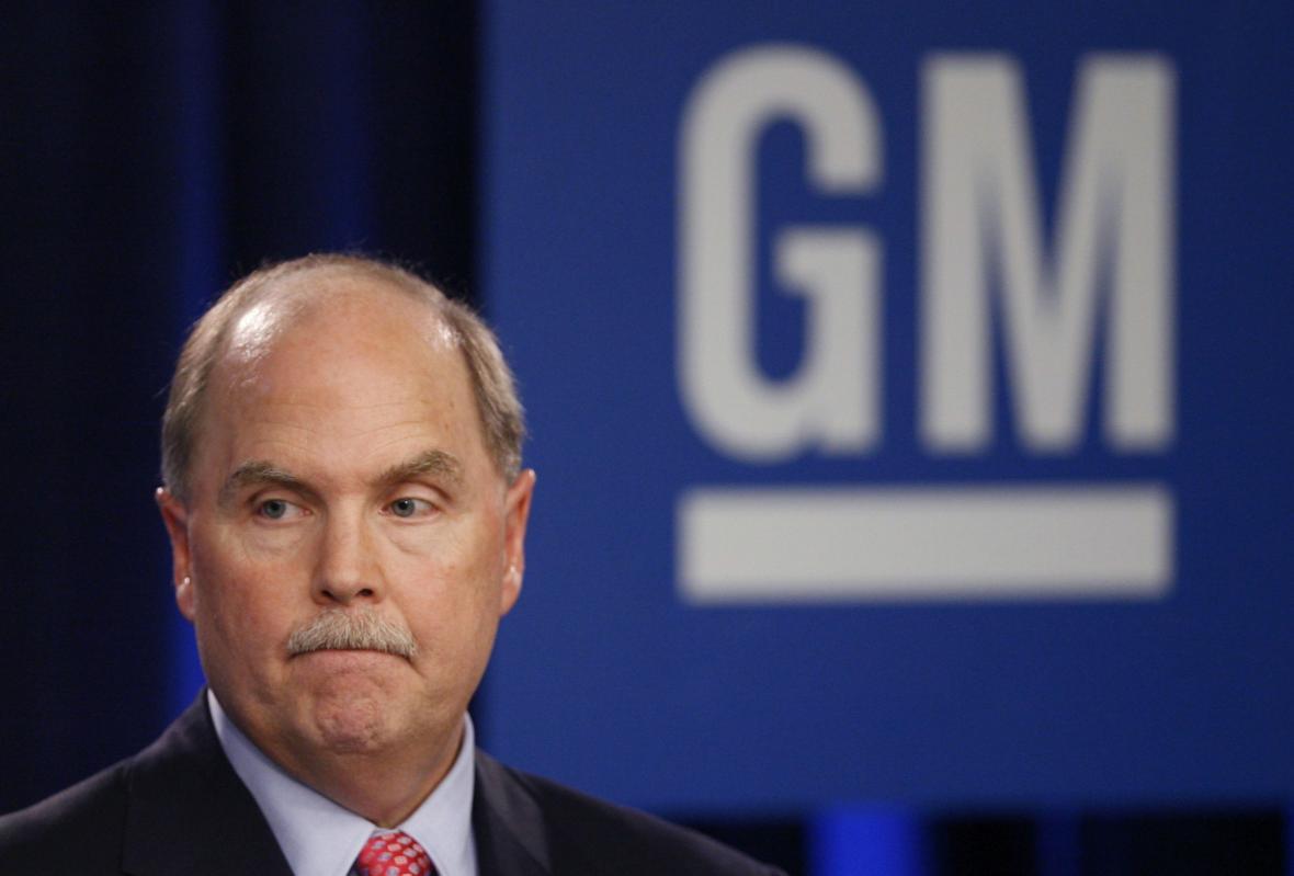 Šéf GM Fritz Henderson na tiskové konferenci ohledně bankrotu