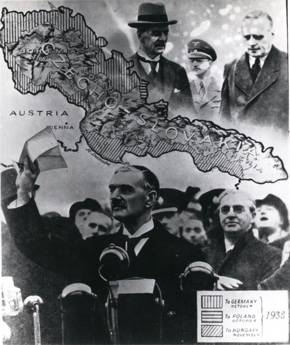 Pamětní koláž k podpisu Mnichovské dohody
