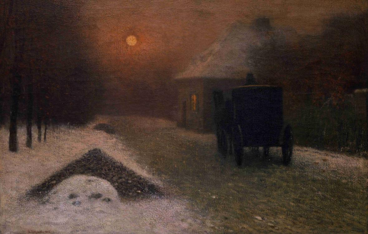 Jakub Schikander / Na ztracené vartě (Vůz v noci), 1906