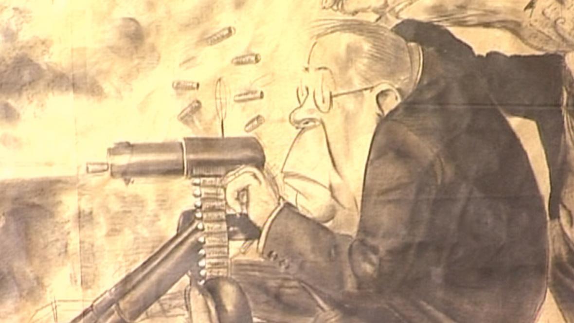 Část karikatury B. Konečného - tzv. Kulometná rota