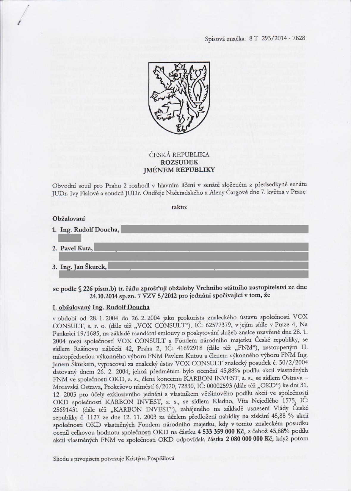Rozsudek v kauze OKD – strana 1