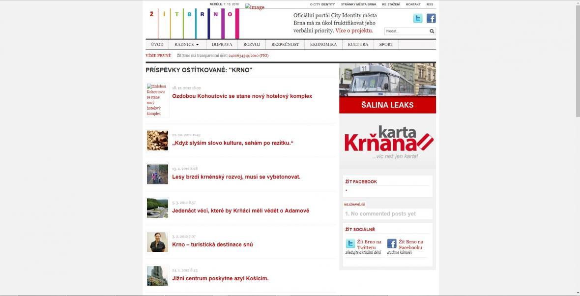 Web Žít Brno – snímek z roku 2012