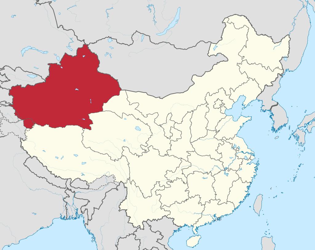 Sin-ťiang na mapě Číny