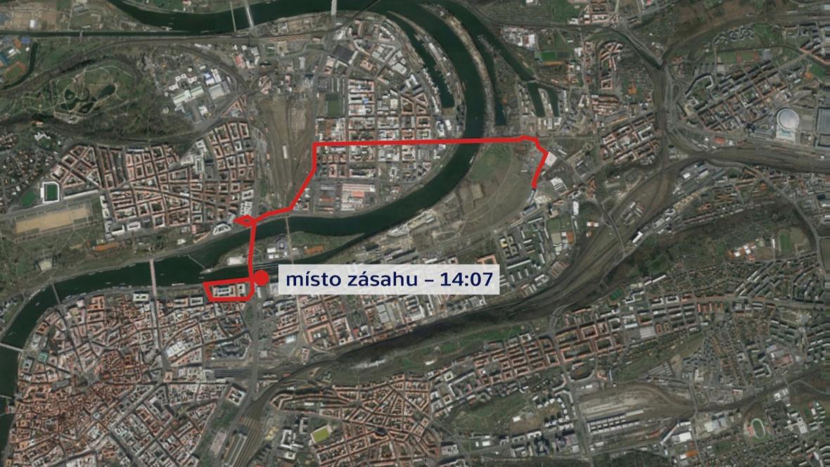 Trasa, kde se policie snažila dohnat motorkáře Tomáše Berku