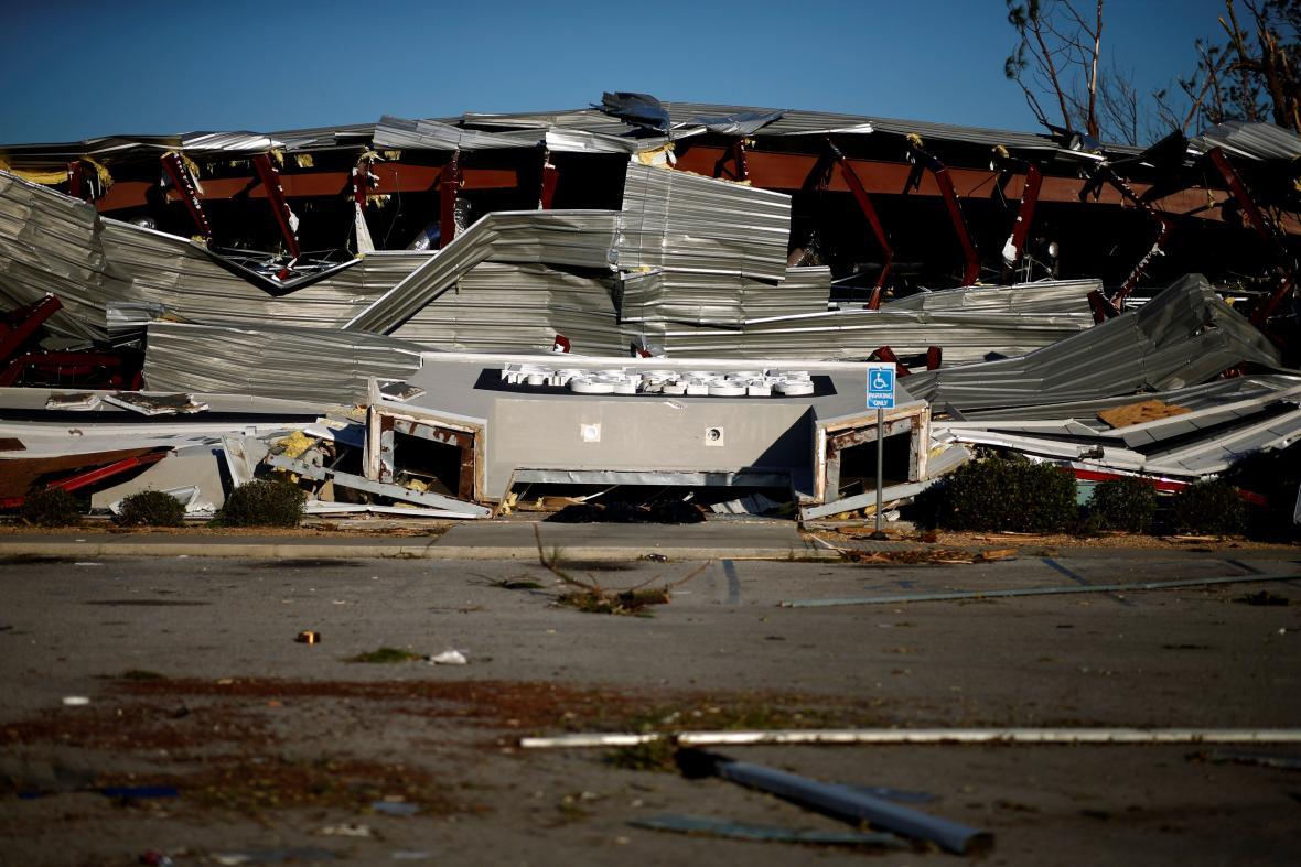 Zdevastované budovy ve floridském Callaway