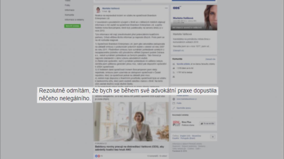 Vyjádření Markéty Vaňkové na Facebooku